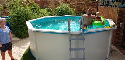 above ground chromadek pool 3,6m diameter, with pool pump