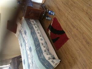 Single Bed, matress,lamp,carpet