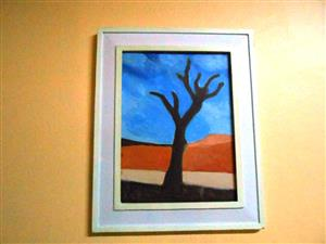 Desert tree acrylic painting vintage frame