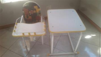 White kiddies desk and feeding chair