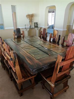 8 seater sleeper wood dining room suite