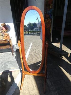 Wood dress mirror