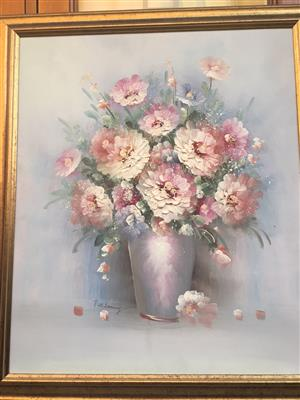 TWO OIL FRAME PAINTINGS- BEAUTIFUL FLOWERS- SOLD TOGETHER OF INDIVIDUALLY