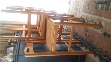 Beech bar chairs with rafia seat
