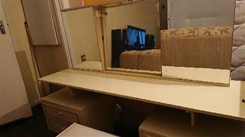 Headboard n bedside tables.
