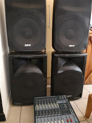 Hybrid speakers and Dixon 8 channel powered mixer
