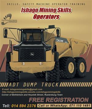 Dump truck (adt) training center in rustenburg/mahikeng whatsap/call +27815568232