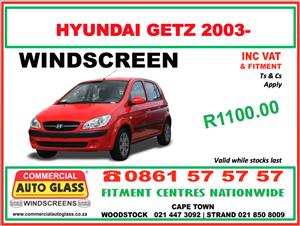Hyundai Getz 2003- Commercial Auto Glass Windscreen Special