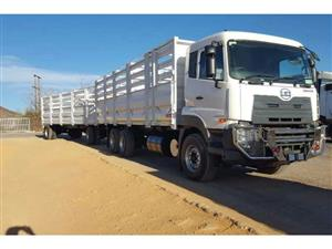 UD QUESTER E24 6x4 F/C with Cattlebody and Trailer Truck please call: 074 860 0898    R780-000