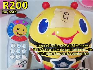 Fisher price remote and bright starts