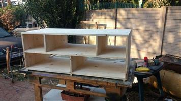 Light wooden pine tv stand with shelves