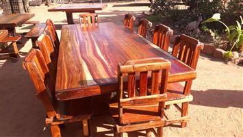 10 Seater Sleeper Wood Dining Room Table Set