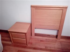 real oak wooden headboard and matching real oak side table