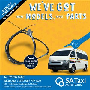 Used Front Hand Brake Cable for Toyota Quantum - All models - SA Taxi Auto Parts quality taxi spares