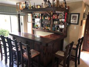 Solid Rhodesian Teak L-shaped Bar with stools