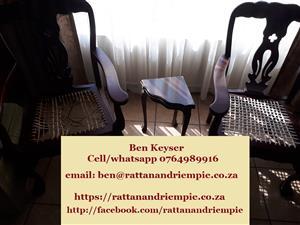 Chair riempies(white, raw and kudu, PVC) repaired