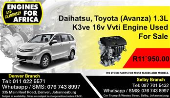 Daihatsu, Toyota (Avanza) 1.3L K3ve 16v Vvti Engine Used For Sale