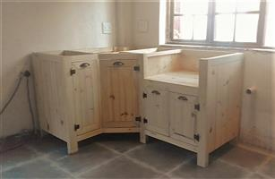 Kitchen Cupboard Scullery unit Farmhouse series 1200 Left Corner Raw