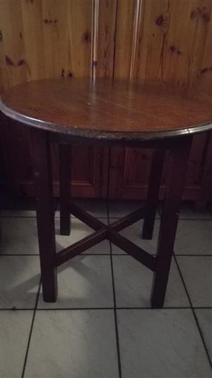 Dark wooden round table