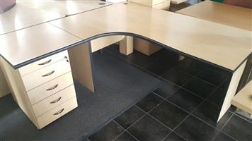 Maple L-shape desk with drawers