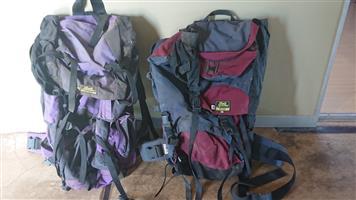 Backpacker hiking rucksacks