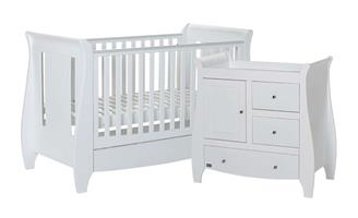 Katie Sleigh 2pc Room Set White Nusery Baby Cot Bed Changer & Mattress