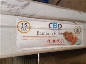 Bamboo double bed pillow top