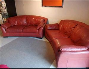 Beautiful, large and comfy RED 2 by 2seater genuine leather couches.