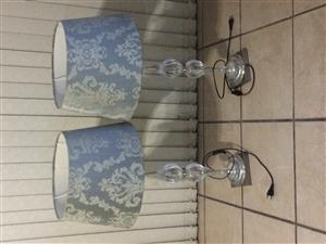 A set of two bed side lamps