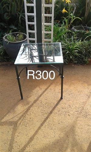 Glass and steel table for sale