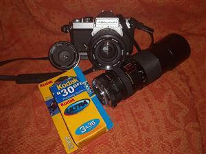Nikkormat Collector's Film Camera plus 3 x Vivitar Lenses plus film