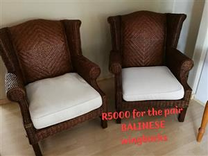 Balinese wingback chairs
