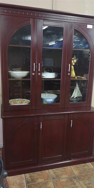 Dark wooden 3 glass door display cabinet