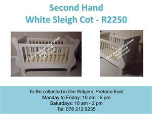 Second Hand White Sleigh Cot