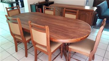 Solid Imbuia Wood Dining Set (Table, Chairs, Sideboard)
