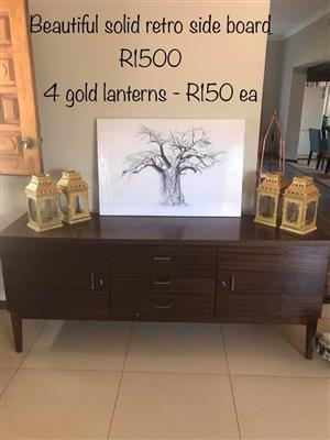 Solid retro sideboard and 4 golden lanterns