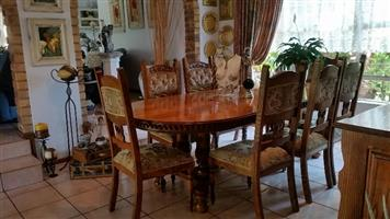 11 piece Solid Oak dining room set .