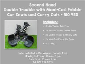 Second Hand Double Trouble with Maxi-Cosi Pebble Car Seats and Carry Cots