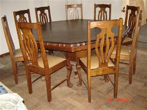 BEAUTIFUL IMBUIA BALL AND CLAW DINING ROOM SUITE FOR SALE