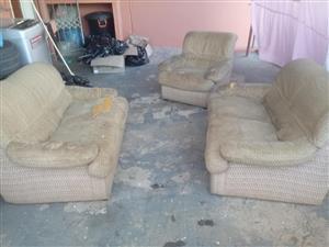 3 Piece beige damaged lounge suite
