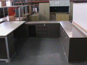 U shape desk plus credenza and pedestal