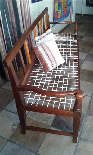 Africana Antique Riempiesbank and 2 matching occasional chairs