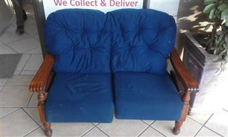2 Seater vintage blue couch for sale