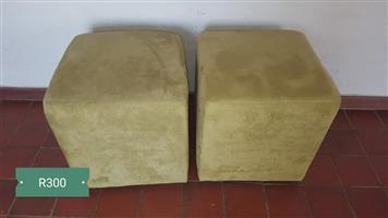 2 Beige ottomans for sale