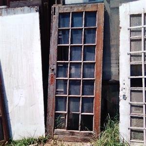 Oregon Pine Wood Glass Paneled Door