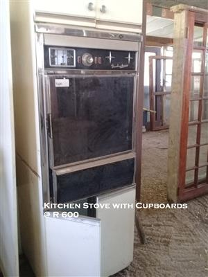 Used Kitchen Stove with Cupboards