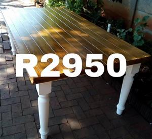 White wooden top outdoor table