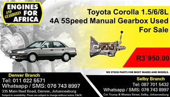 Toyota Corolla 1.5/6/8L 4A 5Speed Manual Gearbox Used For Sale.