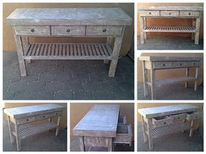 Dresser Farmhouse series 1500 slatted shelf and 3 drawers Glazed