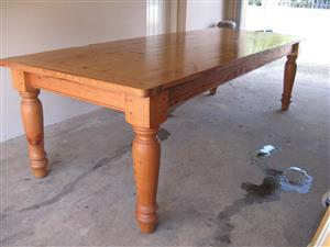 Oreogon Pine Solid wood 10 seater Table. Finish is semi Rustic. 2700mm long x 1090 wide.
